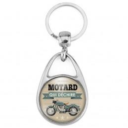 Porte Clés Métal 2 Faces Logo 3cm Motard qui déchire - Moto Ancienne Fond Beige