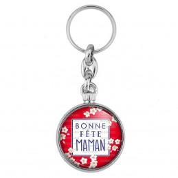 Porte-Clés forme Montre Antique 2 faces Bonne Fête MAMAN - Fleurs blanches Fond Rouge