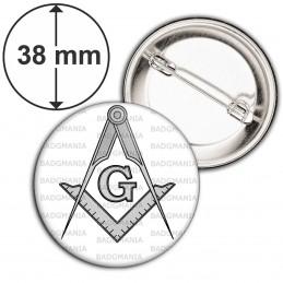 Badge 38mm Epingle Compas Equerre Francs-Maçons Symbole Maçonnique Gris