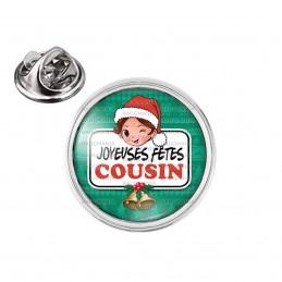 Pin's rond 2cm argenté Joyeuses Fêtes COUSIN Noël Gui Cloches