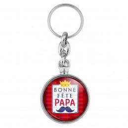 Porte-Clés forme Montre Antique 2 faces Bonne Fête PAPA - Fond rouge Moustache couronne