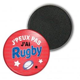 Magnet Aimant Frigo 3.8cm J'Peux Pas j'ai Rugby - Ballon Ovale - Fond Rouge