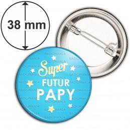 Badge 38mm Epingle Super Futur PAPY - Etoiles Fond Bleu