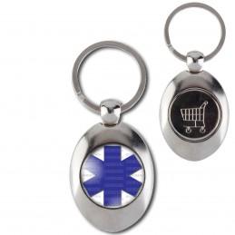 Porte-Clés Acier Ovale Jeton Caddie Croix de Vie Santé Ambulance