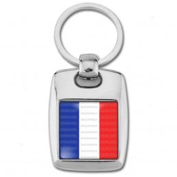 Porte Clés Rectangle Acier 2 Faces France Tricolore Bleu Blanc Rouge Drapeau Français