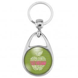 Porte Clés Métal 2 Faces Logo 3cm Go Vegan Mots forme de Pomme Fruit