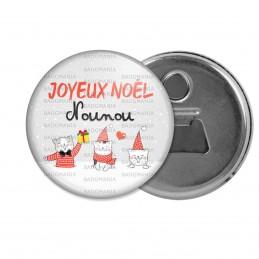 Décapsuleur 6cm Aimant Magnet Joyeux Noël Nounou - Chatons Noël Rouge Fond Gris Flocons Neige