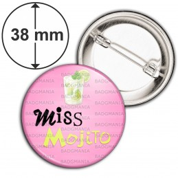 Badge 38mm Epingle Miss Mojito - Verre Mojiton boisson sur fond rose