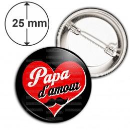 Badge 25mm Epingle Papa d'Amour - Cœur Rouge