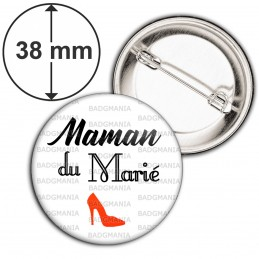 Badge 38mm Epingle Maman du Marié Mariage Cérémonie