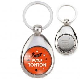 Porte-Clés Acier Goutte Jeton Caddie Super Futur TONTON - Etoiles Fond Orange