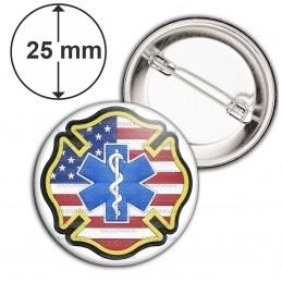 Badge 25mm Epingle Croix de Vie Ambulancier Drapeau USA