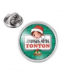 Pin's rond 2cm argenté Joyeuses Fêtes TONTON Noël Gui Cloches