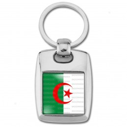 Porte Clés Rectangle Acier 2 Faces Drapeau Algérie Algérien Croissant Rouge Embleme Islamique