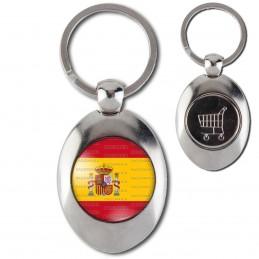 Porte-Clés Acier Ovale Jeton Caddie Drapeau Espagne Espagnol Spain Flag Emblème