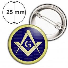 Badge 25mm Epingle Compas Equerre Francs-Maçons Symbole Maçonnique Bleu et Cercle Or