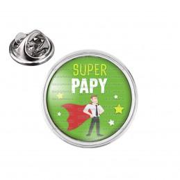 Pin's rond 2cm argenté Super Papy - Cape Super Heros