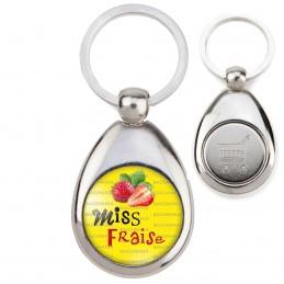 Porte-Clés Acier Goutte Jeton Caddie Miss Fraise - Fruit fraises sur fond jaune