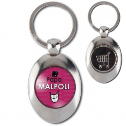 Porte-Clés Acier Ovale Jeton Caddie Papa Malpoli - Fond violet