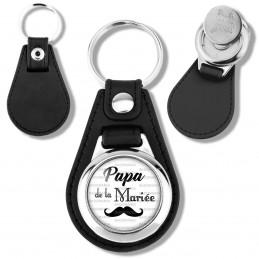 Porte-Clés Cuir Vegan Rond Jeton Caddie Papa de la Mariée - Moustache Mariage Cérémonie