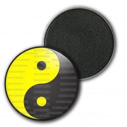 Magnet Aimant Frigo 3.8cm Yin Yang Jaune Gris Foncé Harmonie Equilibre Feng Shui Paix Peace