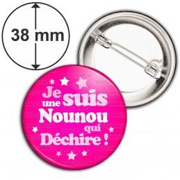 Badge 38mm Epingle Je suis une nounou qui déchire ! - Fond Rose Etoilé