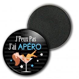 Magnet Aimant Frigo 3.8cm J'Peux Pas J'ai Apéro - Verre Cocktail fond noir