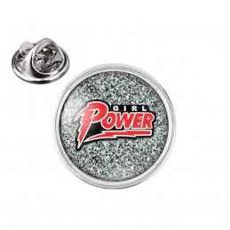 Pin's rond 2cm argenté Girl Power - Feminist Girl Power Fond Gris