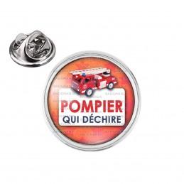 Pin's rond 2cm argenté Pompier Qui Déchire - Camion SP Grande Echelle