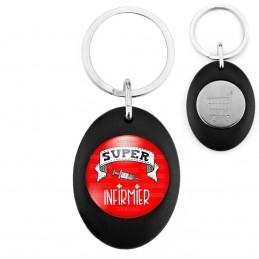 Porte-Clés Noir Ovale Jeton Caddie Super INFIRMIER