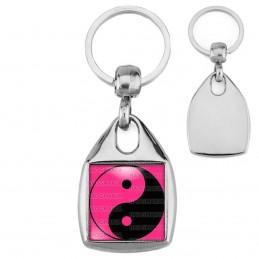 Porte-Clés Carré Acier Yin Yang Rose Fuschia Noir Harmonie Equilibre Feng Shui Paix Peace