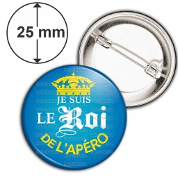 Badge 25mm Epingle Je suis le Roi de l'Apéro - Capsule bière Bleu Mexicaine Couronne