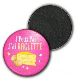 Magnet Aimant Frigo 3.8cm J'Peux Pas J'ai Raclette - Fromage Pommes de Terre fond rose