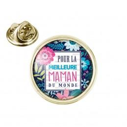 Pin's rond 2cm doré Pour la meilleure maman du monde - Fond fleuri Bleu