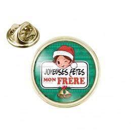 Pin's rond 2cm doré Joyeuses Fêtes MON FRERE Noël Gui Cloches