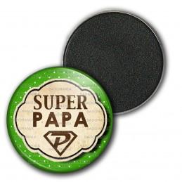 Magnet Aimant Frigo 3.8cm Super Papa - Fond Vert