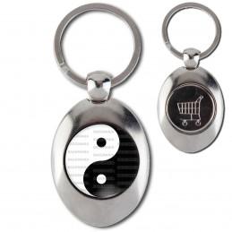 Porte-Clés Acier Ovale Jeton Caddie Yin Yang Blanc Noir Harmonie Equilibre Feng Shui Paix Peace