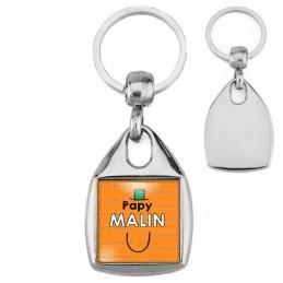 Porte-Clés Carré Acier Papy Malin - Fond orange