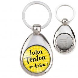 Porte-Clés Acier Goutte Jeton Caddie Futur Tonton qui Déchire - Fond jaune