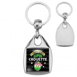 Porte-Clés Carré Acier Instituteur Super Chouette - Fond Noir