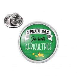 Pin's rond 2cm argenté J'Peux Pas Je suis Agricultrice - Poussins Fond Vert