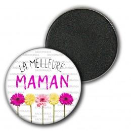 Magnet Aimant Frigo 3.8cm La Meilleure Maman - Fleurs sur blanc