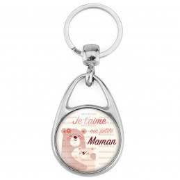 Porte Clés Métal 2 Faces Logo 3cm Je t'aime ma petite maman - Petits oursons