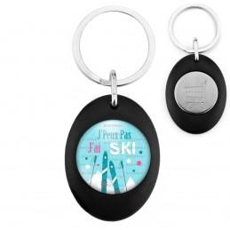 Porte-Clés Noir Ovale Jeton Caddie J'Peux Pas J'ai Ski - Batons Skis Montagne
