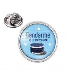 Pin's rond 2cm argenté Gendarme qui déchire - Couvre Chef Fond Bleu
