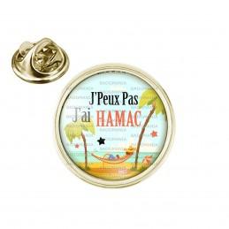 Pin's rond 2cm doré J'Peux Pas J'ai Hamac - Vacances Palmiers
