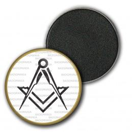 Magnet Aimant Frigo 3.8cm Compas Equerre Francs-Maçons Symbole Maçonnique Noir Cercle Or