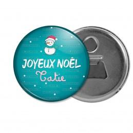 Décapsuleur 6cm Aimant Magnet Joyeux Noël TATIE - Bonhomme de neige Flocons Fond Bleu