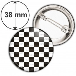 Badge 38mm Epingle Damier Pavé Mosaïque Maconnique Symbole Franc Maçons Noir et Blanc