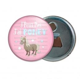 Décapsuleur 6cm Aimant Magnet J'Peux Pas J'ai Poney - Equitation fond rose